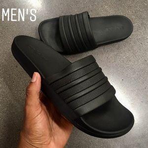 Black Adidas Adilette Cloudfoam Stripes